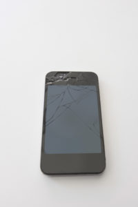 Smart phone with cracked screen